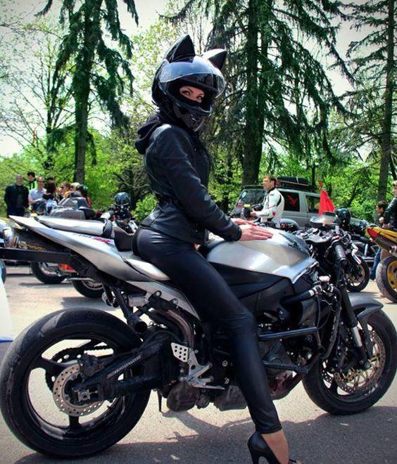 cat ear helmet on female rider