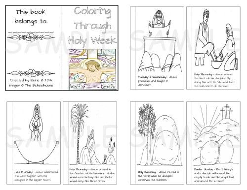 coloring through holy week a free printable coloring book for holy week and easter with - Lent Coloring Pages Booklets Kids