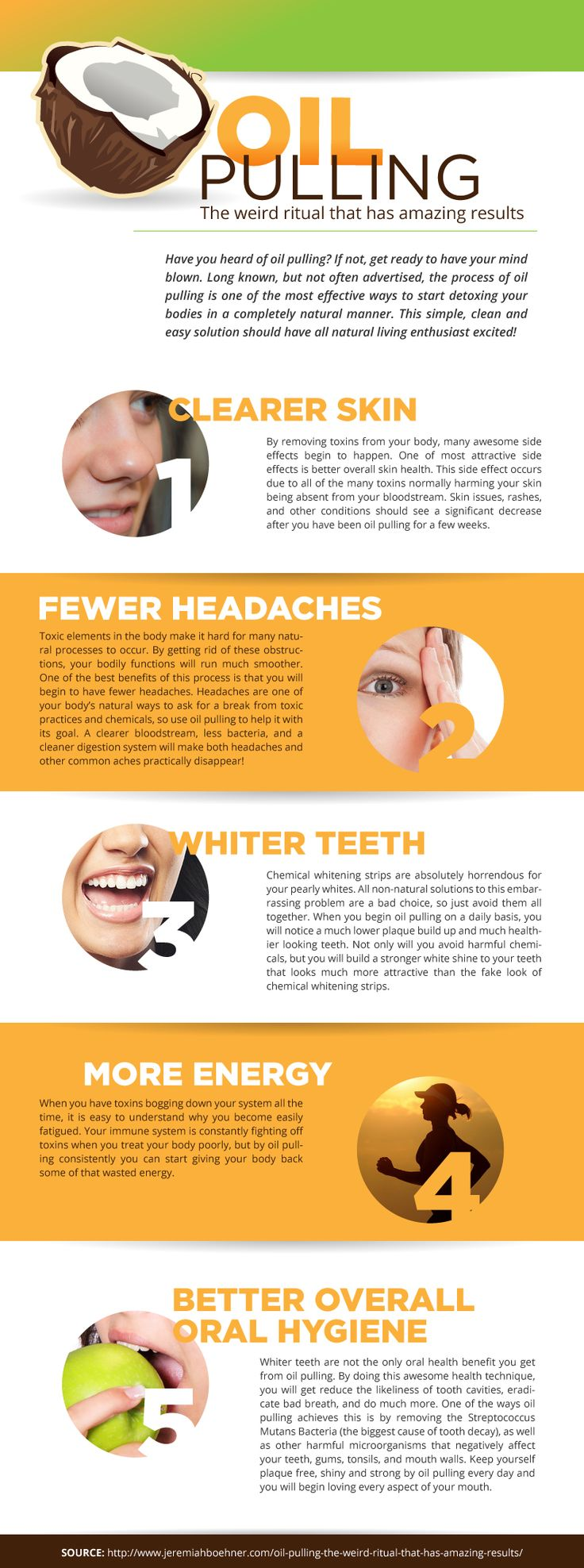 Have you heard about #Oilpulling? This simple, clean and easy solution should have all natural living enthusiast excited!  For more information go to: http://www.jeremiahboehner.com/oil-pulling-the-weird-ritual-that-has-amazing-results/
