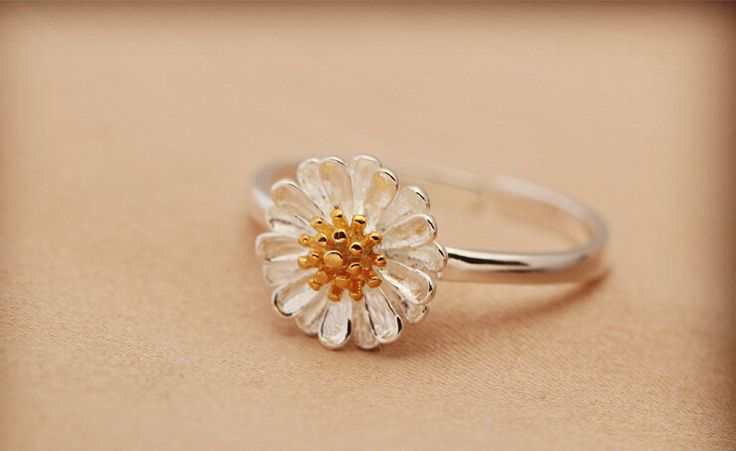 925 sterling silver daisy ring,cute fashion simple ring,a perfect gift