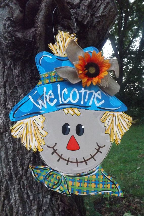 Scarecrow door hanger, fall door hanger, Thanksgiving door hanger, Halloween door hanger, Happy Fall, Personalized door hanger on Etsy, $45.00