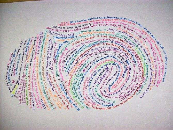 "This artwork by Kendall Spraggins showcases the ""All About Me Thumbprint"" project CMS eighth grade art students designed."
