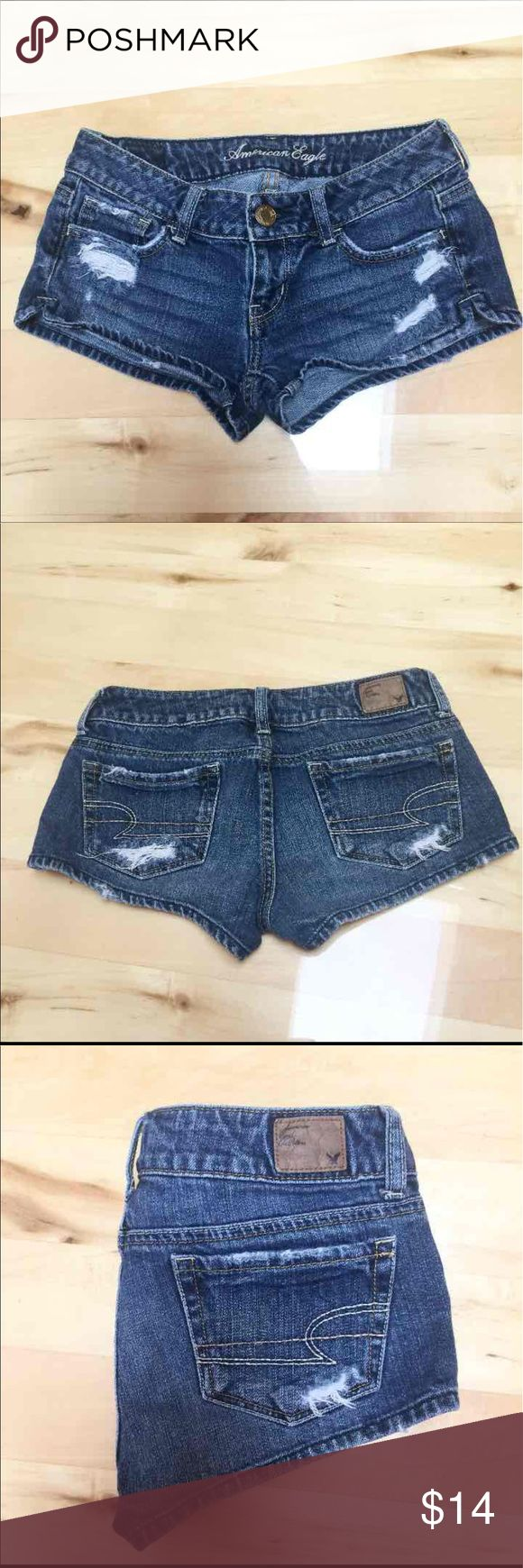 American Eagle Distressed Shorts Size 00 🔥SALE🔥 I believe this could either fit a 23 or a 24. I am selling them because I no longer wear them. They are in great condition, they have been loved, but well taken care of. The shorts have never been dried in the dryer. I don't believe in putting clothes in the dryer because I believe it distorts the shape. I am always open to reasonable offers on all items I have listed. I only ask when making an offer, you make an offer that you would want…