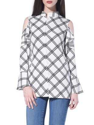 Check out what I found on the LimeRoad Shopping App! You'll love the White Chequered Cold Shoulder Shirt. See it here http://www.limeroad.com/products/13435535?utm_source=10570b8bd1&utm_medium=android