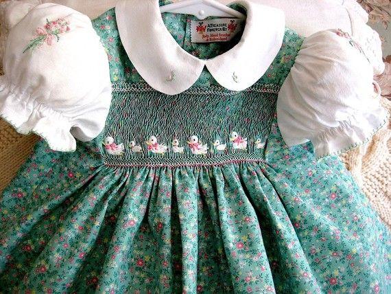 Eight Little Ducks/ Hand Smocked, Hand Embroidered, Girls Dress Size 1
