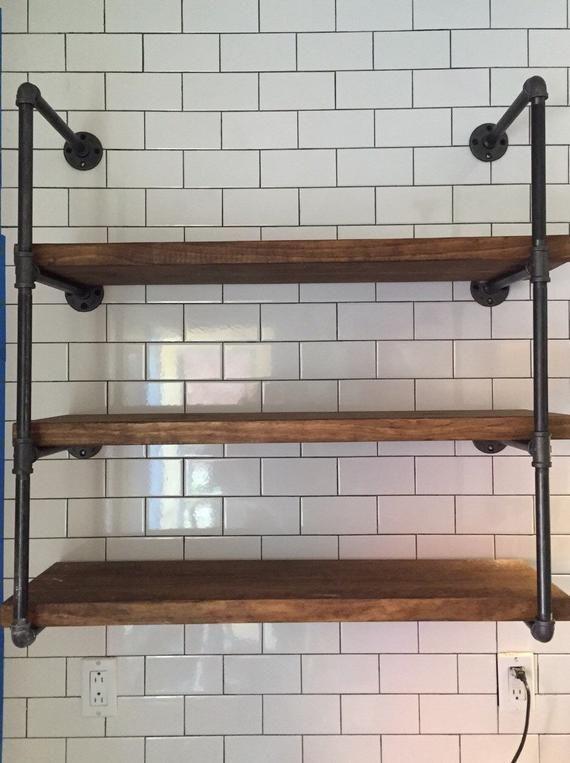 Industrial Chic Shelf Industrial Wall Shelves Wood Shelving