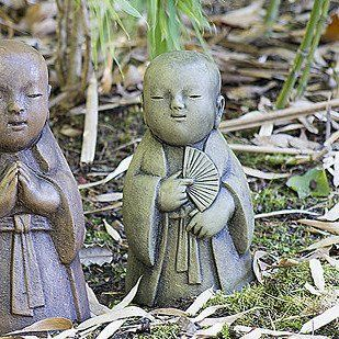 Jizo Bosatsu Child   The Peacemaker. Stained Ornamental Concrete Statue For  Japanese Garden Or Outdoor