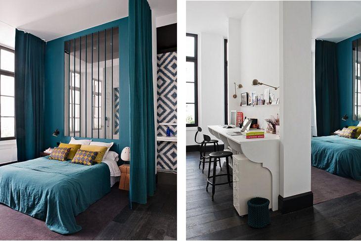 Chambre avec cloison virée couleur bleu canard bureau blanc ...