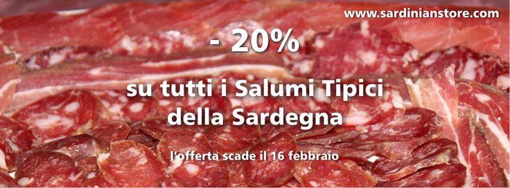 Risparmia il 20% su tutti i Salumi Tipici Sardi, in offerta fino al 16 febbraio. http://goo.gl/6eUAAp  #salumitipicisardi #salumisardegna #prodottitipicisardi