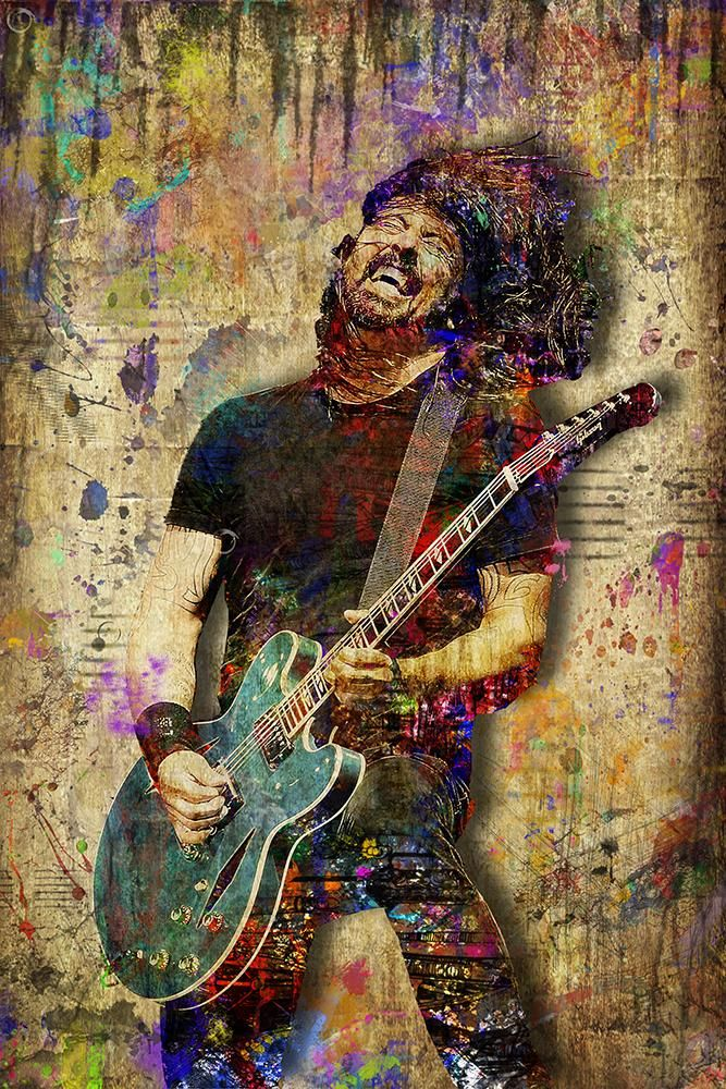 Dave Grohl Foo Fighters Poster, Dave Grohl Portrait Gift, Dve Grohl Colorful Layered Tribute Fine Pop Art