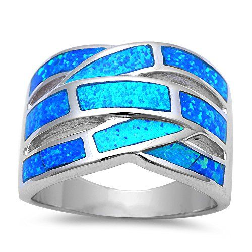 Lab Created Blue Opal .925 Sterling Silver Fashion Ring Sizes 5-11