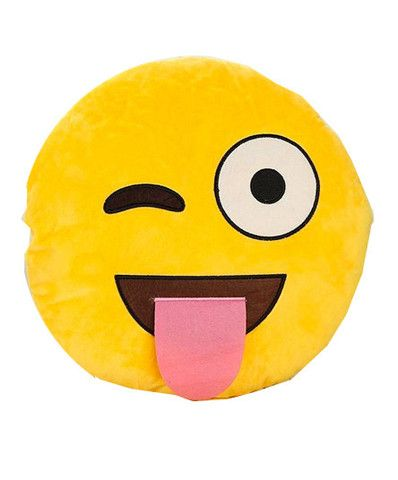 Emoji Pillow ~ Our super soft emoji pillow is the perfect cuddle buddy. Plush soft emoji with his tongue hanging out because it's party time.