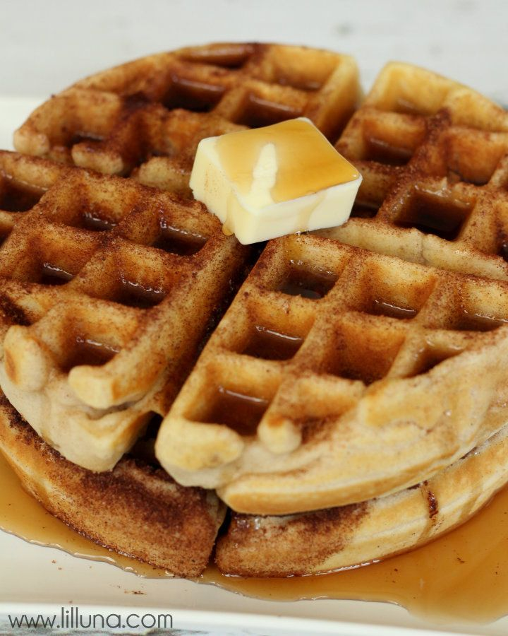 These Snickerdoodle Waffles are so good!! { lilluna.com } #waffles