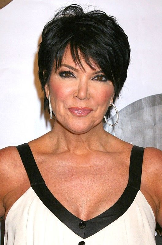 Summer Short Haircut for Women Over 50: Dark Pixie with Fringe from Kris Jenner - Hairstyles Weekly
