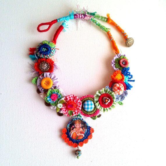 Ganesha.+Statement,+assemblage,+textile,+unique,+crochet,+fiber,+colorful+necklace.+OOAK.