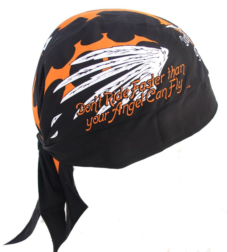 Don't Ride Faster Than Your Angel Can Fly Motorcycle Bandana Du Rag Headwrap Skull Cap