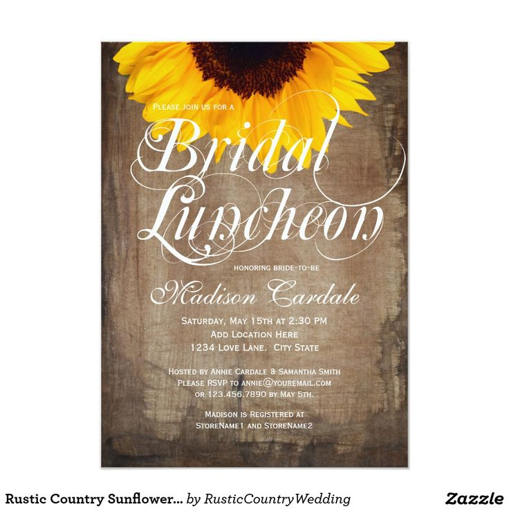 Rustic Country Sunflower Bridal Luncheon Invites