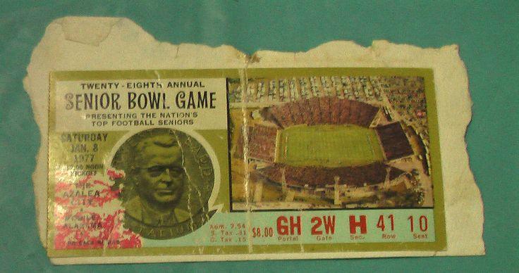 1977 Senior Bowl Ticket Football Game 28th Annual Mobile Alabama Game Vintage