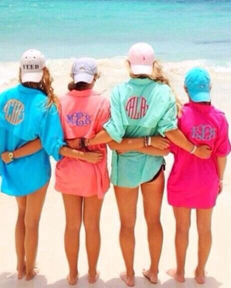 Monogrammed Bathing suit cover ups! Would be cute bridesmaid gifts for a bachelorette party or destination wedding!