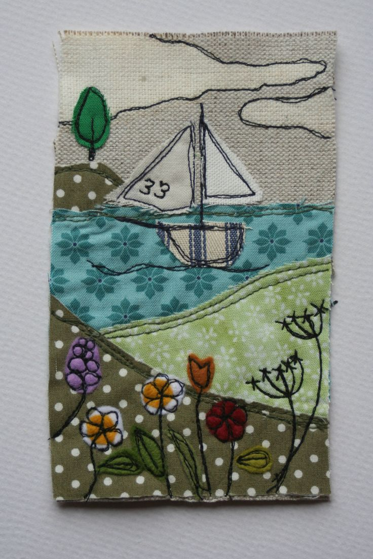 'sail away' textile picture, www.facebook.com/zoewrighttextiles