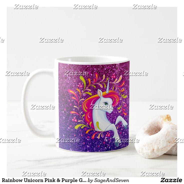 Rainbow Unicorn Pink & Purple Glitter-look Coffee Mug #rainbowunicorn #rainbow #unicorn #glitter