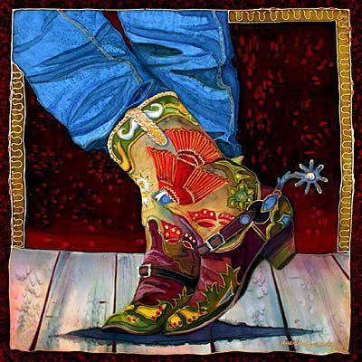 Nancy Cawdrey Contemporary Western Artist from Bigfork Montana. Nancy Cawdrey paints Cowboy art wildlife art western art. Western silk paintings and oil painting.
