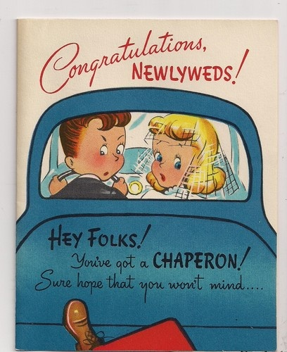 Vintage Cartoon Wedding Card