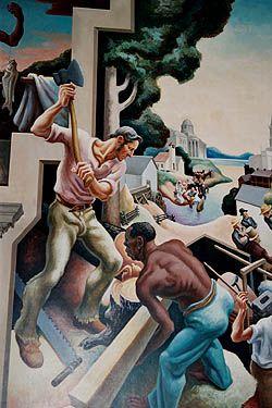 detail of Thomas Hart Benton murals in Missouri State Capitol (Jefferson City MO), 1936.