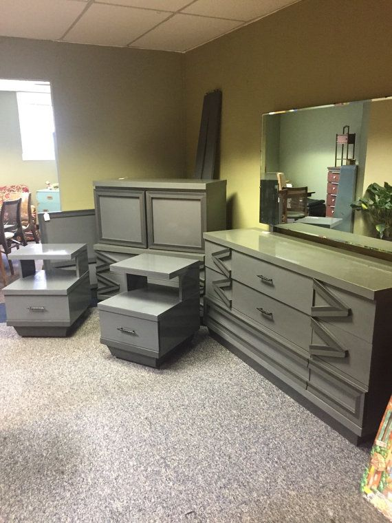 two tone grey painted mid century bedroom set by