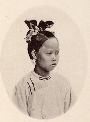 "A girl from Swatow (汕头 now called Shantou), near Canton, about 1870. From John Thomson's ""Images of China"" (pub. 1873-4)  http://ocw.mit.edu/ans7870/21f/21f.027/john_thomson_china_03/ct_gal_02_thumb.html"