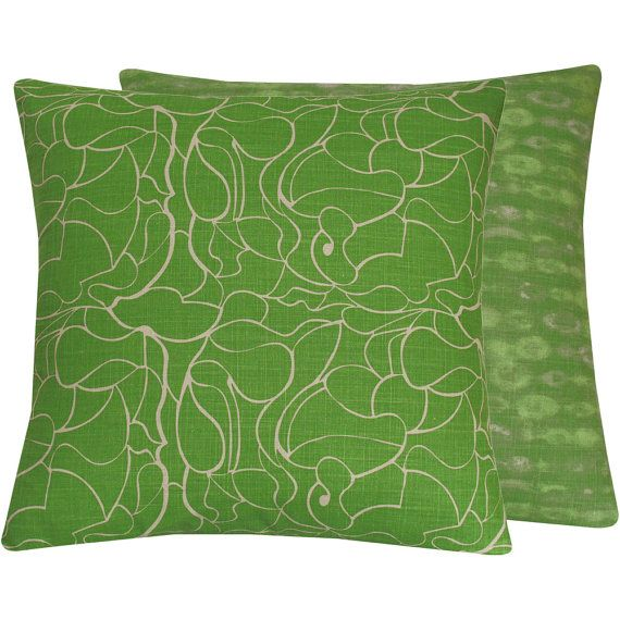 "Green Throw Pillow Cover 20x20"", Lime Green Accent Pillow, Green Cushion, Green Bedding Pillow, Modern Green Pillow, Cotton, Green with Envy"