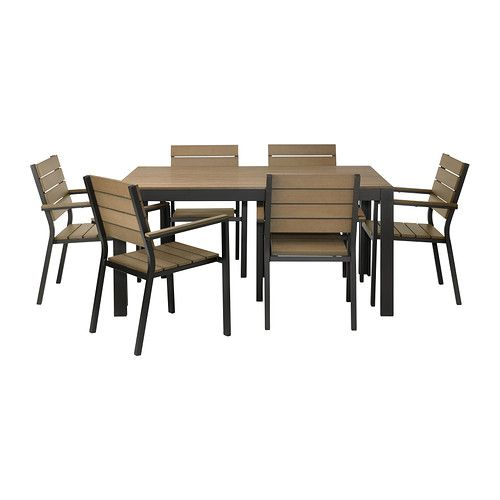 FALSTER Table+6 chairs w armrests, outdoor - black/brown - IKEA