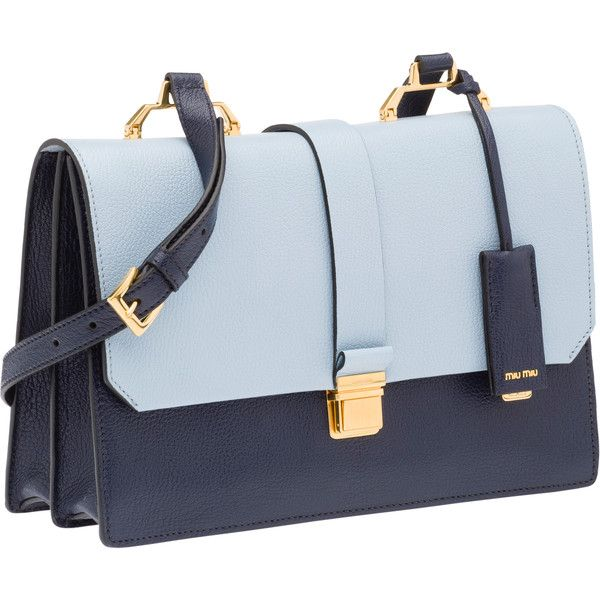 Miu Miu Shoulder Bag ($1,780) ❤ liked on Polyvore featuring bags, handbags, shoulder bags, blue shoulder bag, genuine leather shoulder bag, shoulder strap handbags and purse
