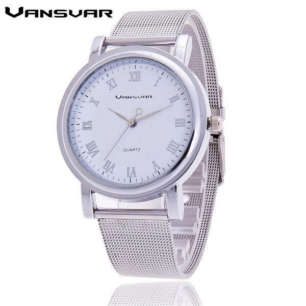 Vansvar Women Silver Watches Fashion Geneva Watches Ladies Casual Wrist Watch Quartz Watch