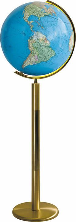 """Bamberg Illuminated World Globe Brass Floor Stand (Free Shipping) 16"""" illuminated world globes feature a high quality hand-blown crystal sphere, covered precisely by hand with two up-to-date geopolitical maps. Mounted on a polished brass contemporary floor stand."""