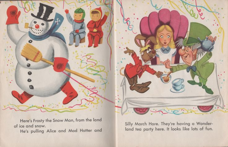 Richard Scarry artwork from 1951 Golden Book Here Comes The Parade ( #143) featuring frosty the Snow Man and characters from Alice in Wonderland