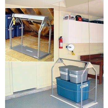 lift power storage lift and versa rail attic ladder safety railing from byers products group automate the home storage process and greatly improve