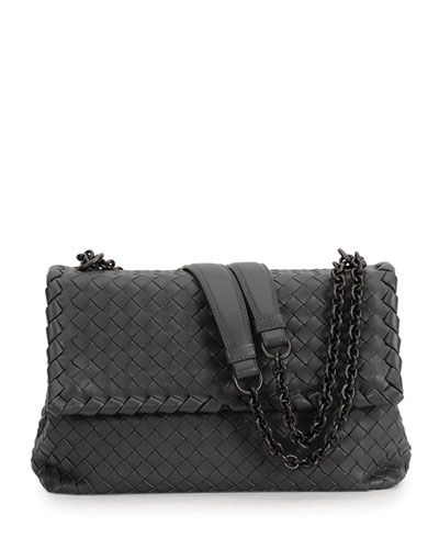 V2JXW Bottega Veneta Olimpia Large Shoulder Bag, Black