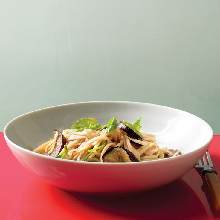 Stir Fried Noodles with Eggplant and Basil