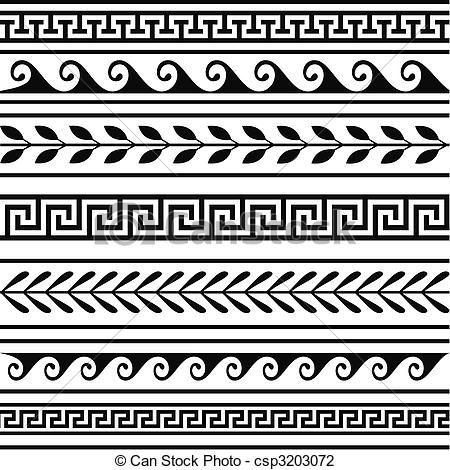 Vector - Conjunto, geométrico, griego, fronteras - stock de ilustracion, ilustracion libre de, stock de iconos de clip art, logo, arte lineal, retrato de EPS, Retratos, gráficos, dibujos gráficos, dibujos, imágenes vectoriales, trabajo artístico, Arte Vectorial en EPS