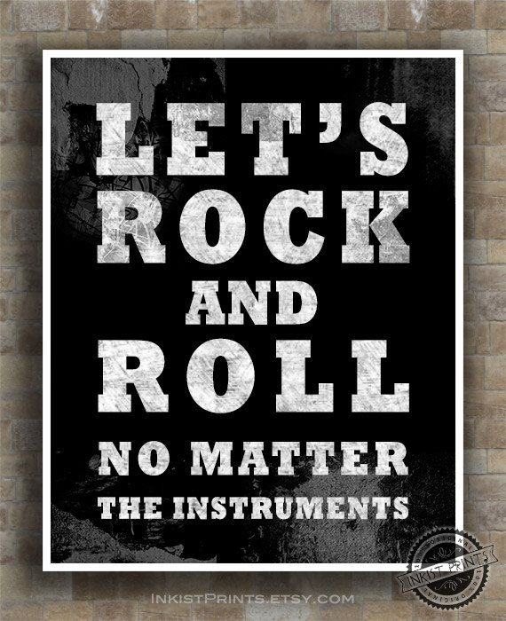Rock And Roll Quotes: Let's Rock And Roll Print, Inspirational Quote Poster