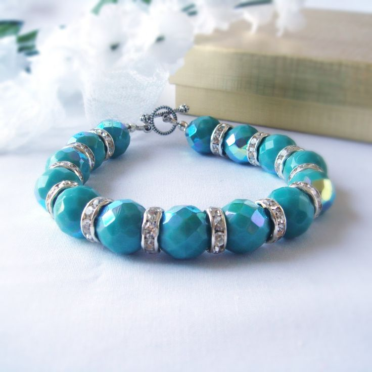 Large Jade Green Mirror Effect Faceted Rondelle Beads with Rhinestone Rondelle Spacers Bracelet Big Bling Bracelet