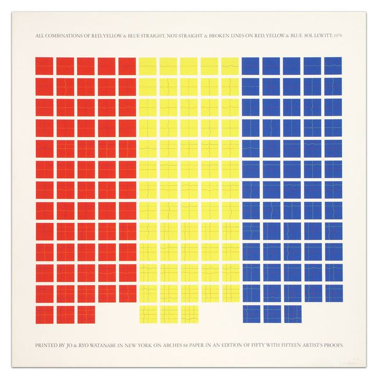 All Combinations of Red, Yellow, and Blue Straight & Broken Lines on Red, Yellow, and Blue | Sol LeWitt, All Combinations of Red, Yellow, and Blue Straight & Broken Lines on Red, Yellow, and Blue (1976)