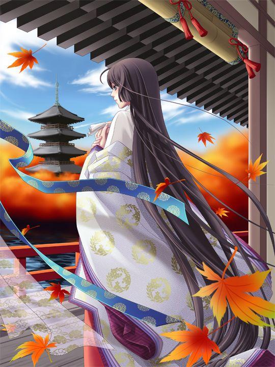 A woman wearing junihitoe in anime.