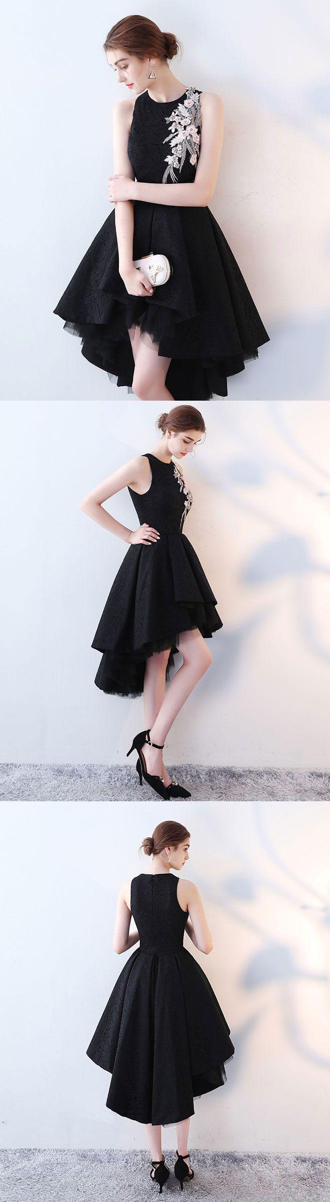 Cute black high low prom dress, short evening dress