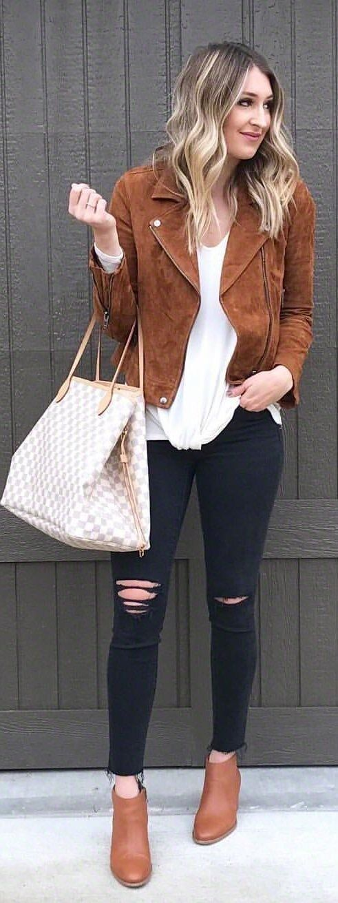 #spring #outfits brown suede leather zip-up jacket, white shirt, and black fitted jeans. Pic by @wearandwhenblog