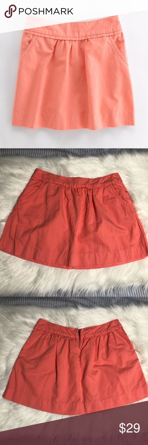 "J. Crew Cotton Linen Cavalry Skirt Sz 10 Euc! Beautiful salmon colored cotton linen blend j crew cavalry skirt. Size 10. Pockets on both sides. Zip and hook closure.   Measurements taken flat (approx):  Waist: 17""  Hips: 22"" Length: 16"" J. Crew Skirts"
