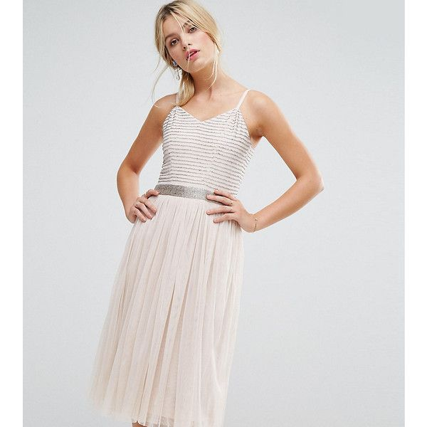 Amelia Rose Midi Cami Strap Dress with Tulle Skirt and Embellished... ($149) ❤ liked on Polyvore featuring dresses, brown, maxi dresses, sequin cocktail dresses, cut-out maxi dresses, cocktail party dress and bodycon dresses