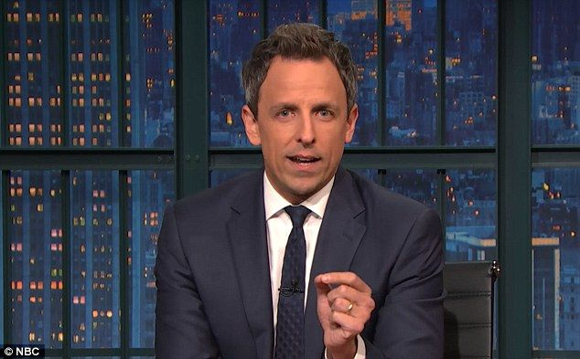Tough day:Seth Meyers was brought to tears throughout his opening monologue on Wednesday night