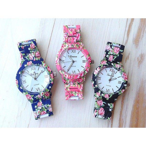 Relógio Feminino com Flores Geneva - Rosa/Preto/Azul/Branco